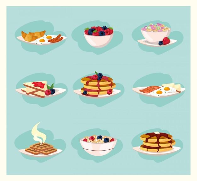 Ustaw zdrowe jedzenie odżywianie śniadanie