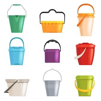 Ustaw żelazne lub plastikowe wiadro, kosz na śmieci. odosobniony