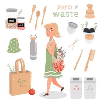 Ustaw zero odpadów. młoda śliczna dziewczyna ma torbę ze sznurkiem. ekologiczny styl życia, odmów plastikowi! sortowanie śmieci, drewna, metalu, szkła, kubka menstruacyjnego. ilustracja na białym tle.