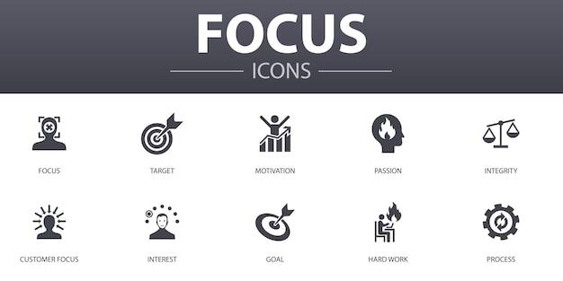 Ustaw zestaw ikon proste pojęcie. zawiera takie ikony, jak cel, motywacja, integralność, proces i inne, może być używany w sieci, logo, ui/ux