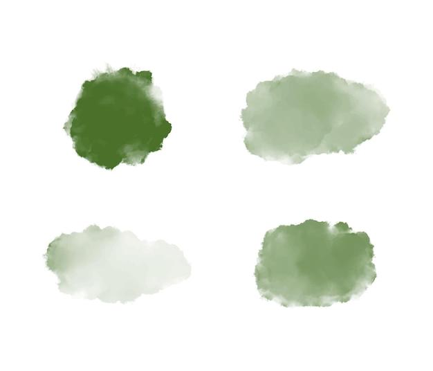 Ustaw zielone kształty akwareli pędzla