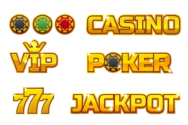 Ustaw złote logo jackpot, poker, 777, casino i vip. złote żetony