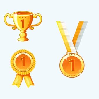 Ustaw złote medale i nagrody, trofeum