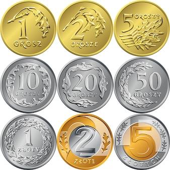 Ustaw złote monety polskie i grosze