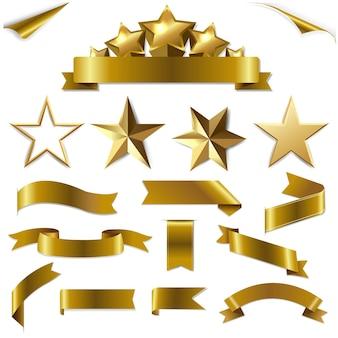 Ustaw złote wstążki i gwiazdki z gradientową siatką