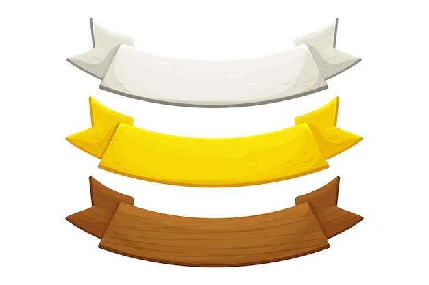 Ustaw złoty srebrny i drewniany baner wstążki w stylu komiksowym na białym tle