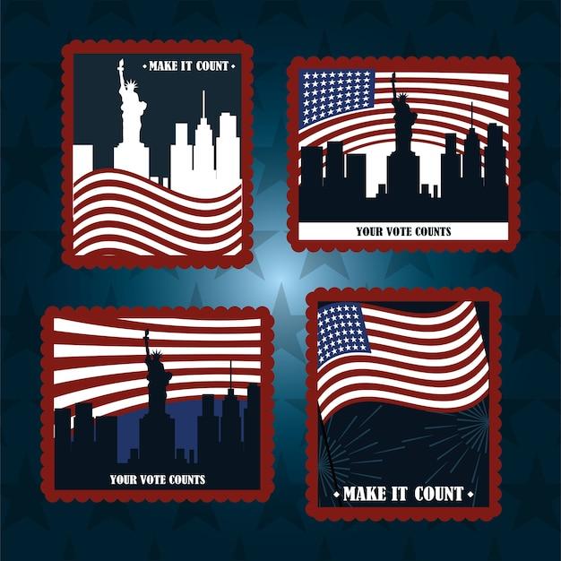 Ustaw znaczek pocztowy amerykańskie flagi miasto ny twój głos się liczy, głosowanie polityczne i wybory usa, spraw, by liczył się ilustracja