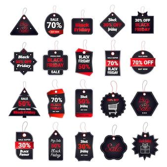 Ustaw znaczniki czarnego piątku kolekcja rabatów koncepcja zakupów wakacyjnych duża etykieta sprzedaży