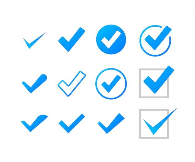 Ustaw znaczniki wyboru lub kleszcze. zaznacz symbol, grunge znacznik wyboru. ilustracji.