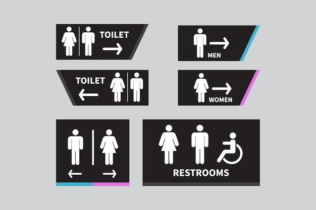 Ustaw znaki toaletowe ikona toalety dla mężczyzn i kobiet znak strzałka w prawo niepełnosprawny wózek inwalidzki