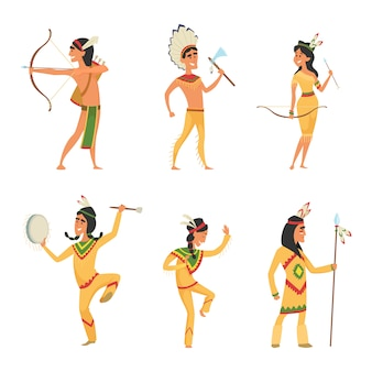 Ustaw znaki w stylu kreskówki. tradycyjny amerykański indianin