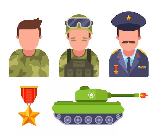 Ustaw żołnierzy w kamuflażu. generał armii. wyposażenie wojskowe. płaska ilustracja.