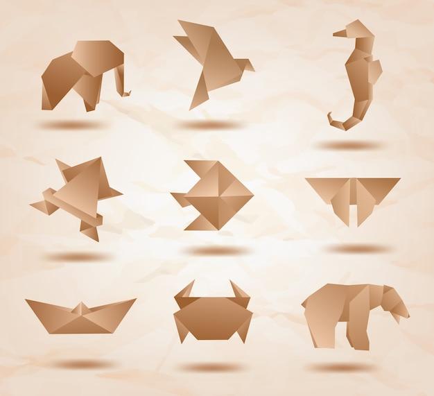 Ustaw zwierzęta origami kraft