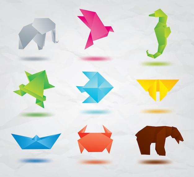 Ustaw zwierzęta origami
