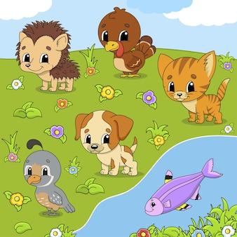 Ustaw zwierzęta śliczne postacie z kreskówek zwierzęta clipart ręcznie rysowane