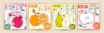 Ustawić wektor etykiety sok owocowy.