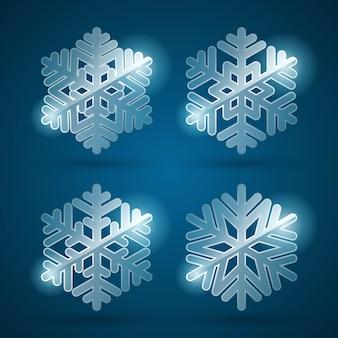 Ustawia 3d błękitnych glansowanych płatki śniegu z lekkimi projektów elementami ilustracyjnymi