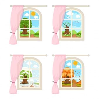 Ustawia okno z sezonowym pogodowym ilustracyjnym wektorem