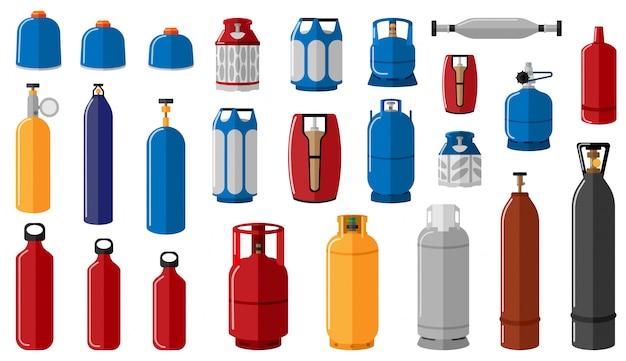 Ustawia różną benzynową butlę na białym tle. sprzęt do bezpiecznego transportu gazu