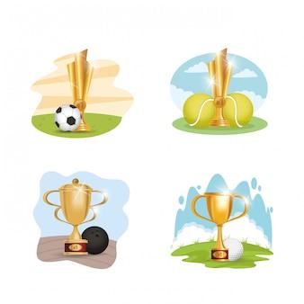 Ustawia sportowego sprzętu i trofeum nagród ilustracyjnego projekt