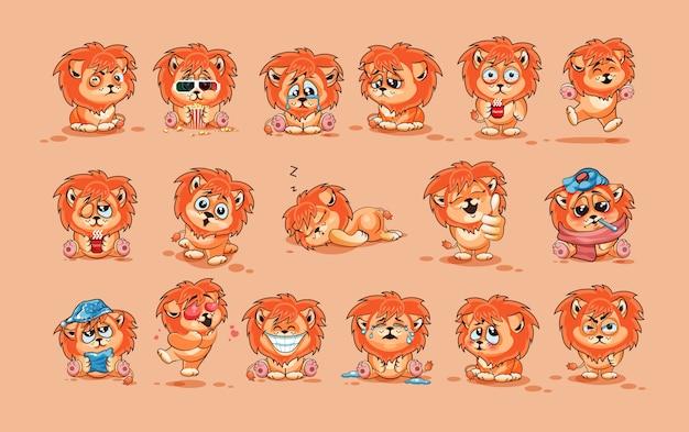 Ustawia zestaw kolekcję ilustracje odizolowywać emoji charakteru kreskówka lwa lisiątka majcheru emoticons z różnymi emocjami