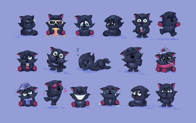 Ustawia zestaw kolekcję ilustracje odizolowywać emoji charakteru kreskówki czarnego kota majcherów emoticons z różnymi emocjami