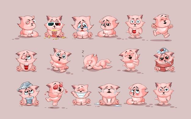 Ustawia zestaw kolekcję ilustracje odizolowywać emoji charakteru kreskówki kota majcherów emoticons z różnymi emocjami