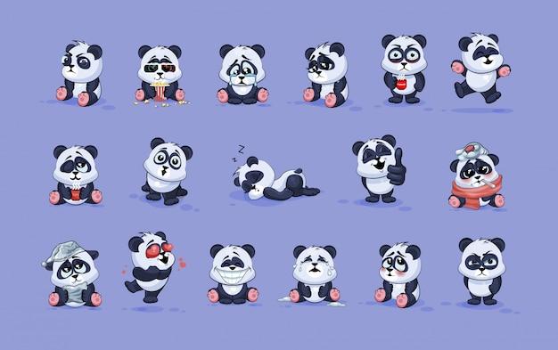 Ustawia zestaw kolekcję ilustracje odizolowywać emoji charakteru kreskówki pandy majcherów emoticons z różnymi emocjami