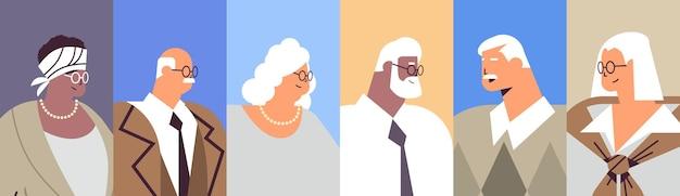 Ustawić awatary starszych biznesmenów mieszać rasy ludzi biznesu w stroju wizytowym w wieku starości koncepcja portret poziomy ilustracji wektorowych