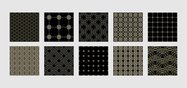 Ustawić azjatyckie złote bezszwowe wzory abstrakcyjne geometryczne powtarzać tła chińskie tapety