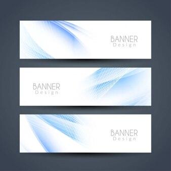 Ustawić banery niebieskie faliste