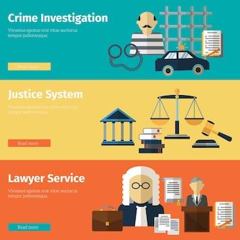 Ustawić banery wektor usługi sprawiedliwości i prawnika. prawnik i sąd, ilustracja prawa sprawiedliwości