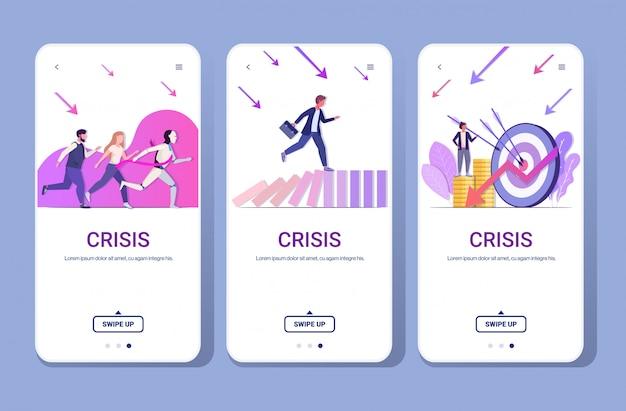 Ustawić biznesmeni sfrustrowani kryzysem finansowym bankructwo ryzyko inwestycyjne konkurs koncepcja telefon ekrany kolekcja pełnej długości poziomej kopii przestrzeni