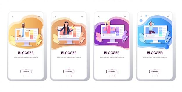 Ustawić blogerów nagrywających online mix wideo wyścig vlogerów robi transmisję na żywo transmisje społecznościowe networking blogowanie koncepcja smartfony ekrany kolekcja pozioma kopia przestrzeń
