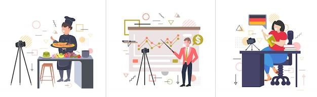 Ustawić blogerów nagrywających wideo online z aparatem na statywie transmisja na żywo transmisja społecznościowa sieci społecznościowe koncepcje blogowania kolekcja pozioma pełna długość