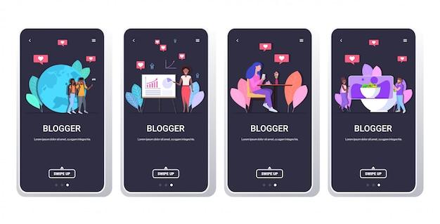 Ustawić blogerów nagrywających wideo vlogerów wykonujących transmisje na żywo, dzielących się historiami sieci społecznościowe blogowanie koncepcja ekranów smartfonów kolekcja pozioma