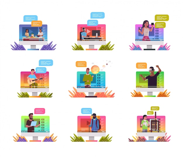 Ustawić blogerów nagrywających wideo vlogerów wykonujących transmisję na żywo transmisja w mediach społecznościowych blogowanie koncepcja monitor komputerowy ekran portret
