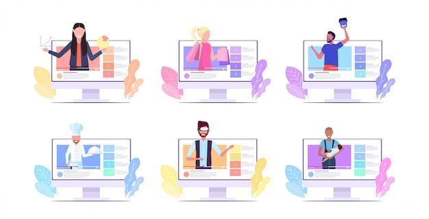 Ustawić blogerów nagrywających wideo vlogerów wykonujących transmisję na żywo transmisja w mediach społecznościowych blogowanie koncepcja poziomej kolekcji monitorów