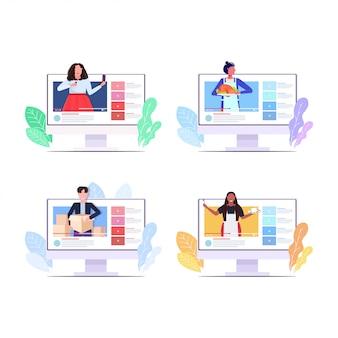 Ustawić blogerów nagrywających wideo vlogerów wykonujących transmisję na żywo transmisje społecznościowe networking blogowanie koncepcja monitorów komputerowych kolekcja ekranów poziomych