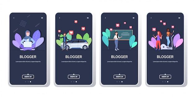 Ustawić blogerów nagrywających wideo vlogerów wykonujących transmisję na żywo transmisje społecznościowe sieci blogowe koncepcja blogów kolekcja ekranów poziomych
