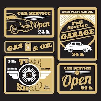 Ustawić czarny złoty samochód retro usługi etykiety