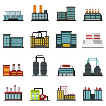 Ustawić fabryczne płaskie ikony budynku przemysłowego