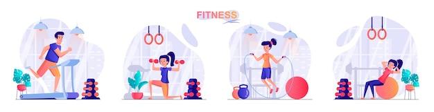 Ustawić fitness ilustracja koncepcja płaska konstrukcja ludzi znaków