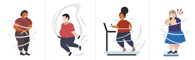 Ustawić grubych otyłych ludzi w różnych pozach z nadwagą męskie postacie żeńskie kolekcja otyłość niezdrowy styl życia koncepcja odchudzania