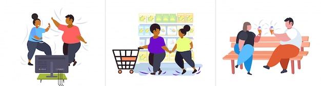 Ustawić grubych otyłych ludzi w różnych pozach z nadwagą mix rasy męskiej postaci płci żeńskiej kolekcja otyłość niezdrowy koncepcja stylu życia