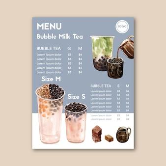 Ustawić herbatę mleczną bąbelek cukru brązowego i menu matcha, vintage treści reklam, ilustracja akwarela