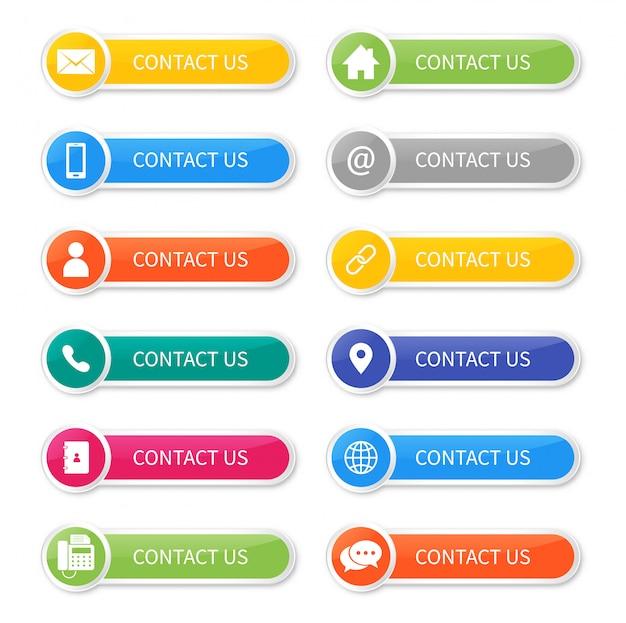 Ustawić ikony kontaktu z nami przycisk na białym tle.