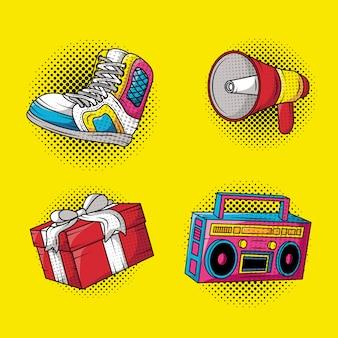 Ustawić ikony stylu pop-art