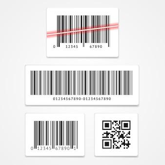 Ustawić kod kreskowy etykiety i kod qr na białym tle