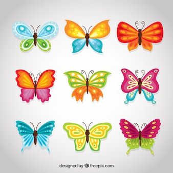 Ustawić kolorowe motyle dekoracyjne